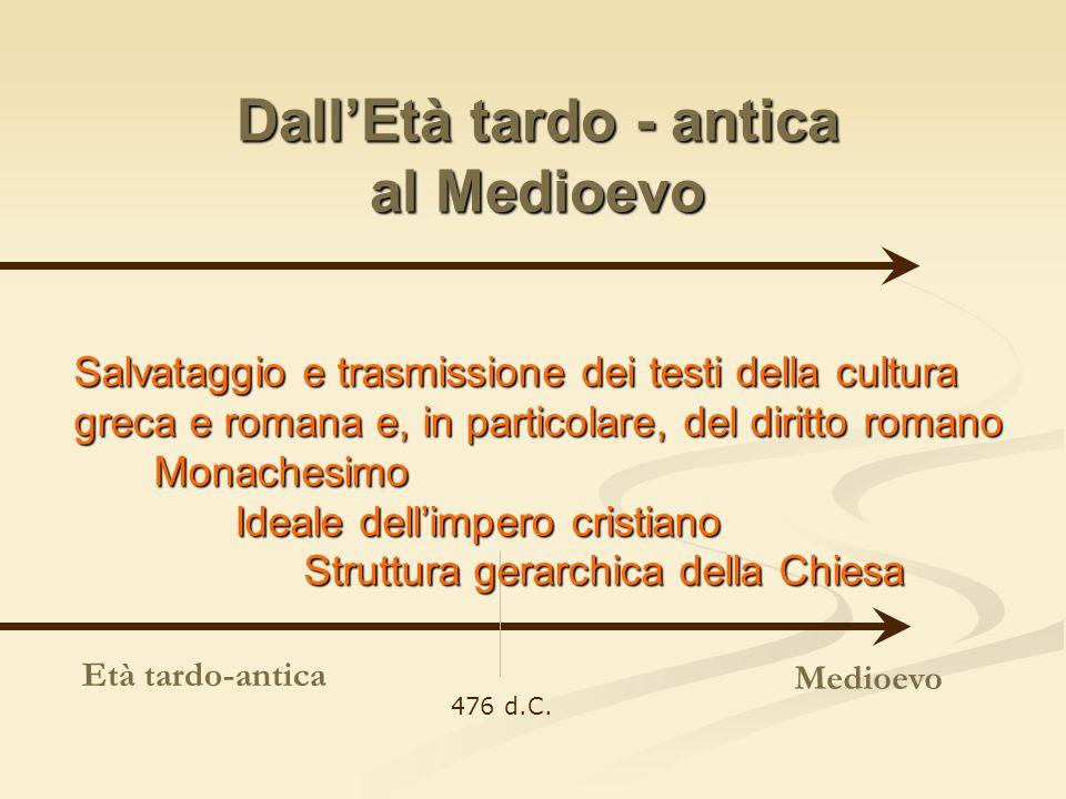 DallEtà tardo - antica al Medioevo Medioevo 476 d.C. Età tardo-antica Salvataggio e trasmissione dei testi della cultura greca e romana e, in particol