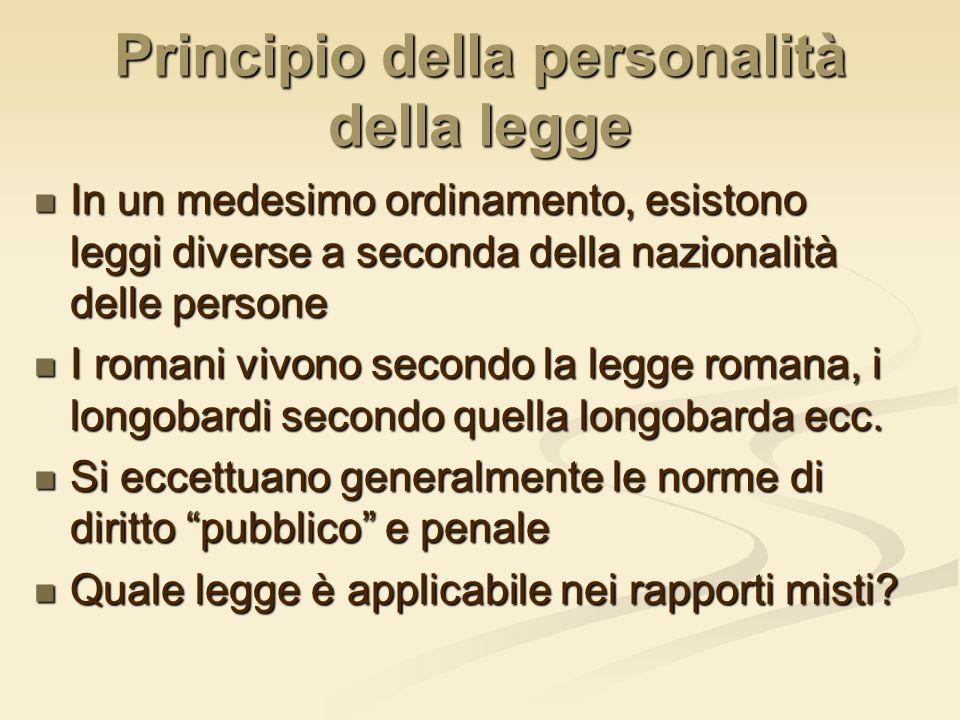 Principio della personalità della legge In un medesimo ordinamento, esistono leggi diverse a seconda della nazionalità delle persone In un medesimo or