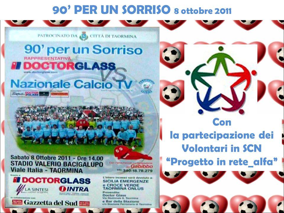 90 PER UN SORRISO 8 ottobre 2011 Con la partecipazione dei Volontari in SCN Progetto in rete_alfa