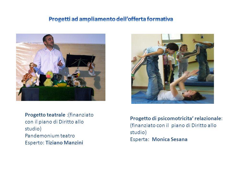 Progetto teatrale :(finanziato con il piano di Diritto allo studio) Pandemonium teatro Esperto: Tiziano Manzini Progetto di psicomotricita relazionale: (finanziato con il piano di Diritto allo studio) Esperta: Monica Sesana