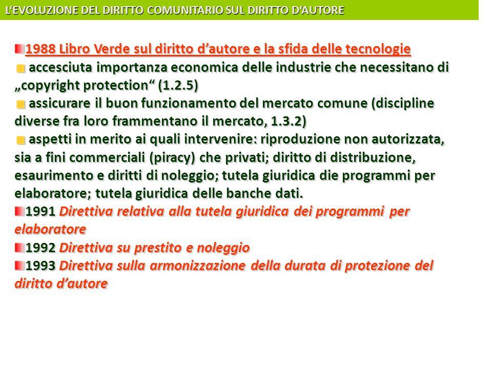 LEVOLUZIONE DEL DIRITTO COMUNITARIO SUL DIRITTO DAUTORE 1988 Libro Verde sul diritto dautore e la sfida delle tecnologie accesciuta importanza economi