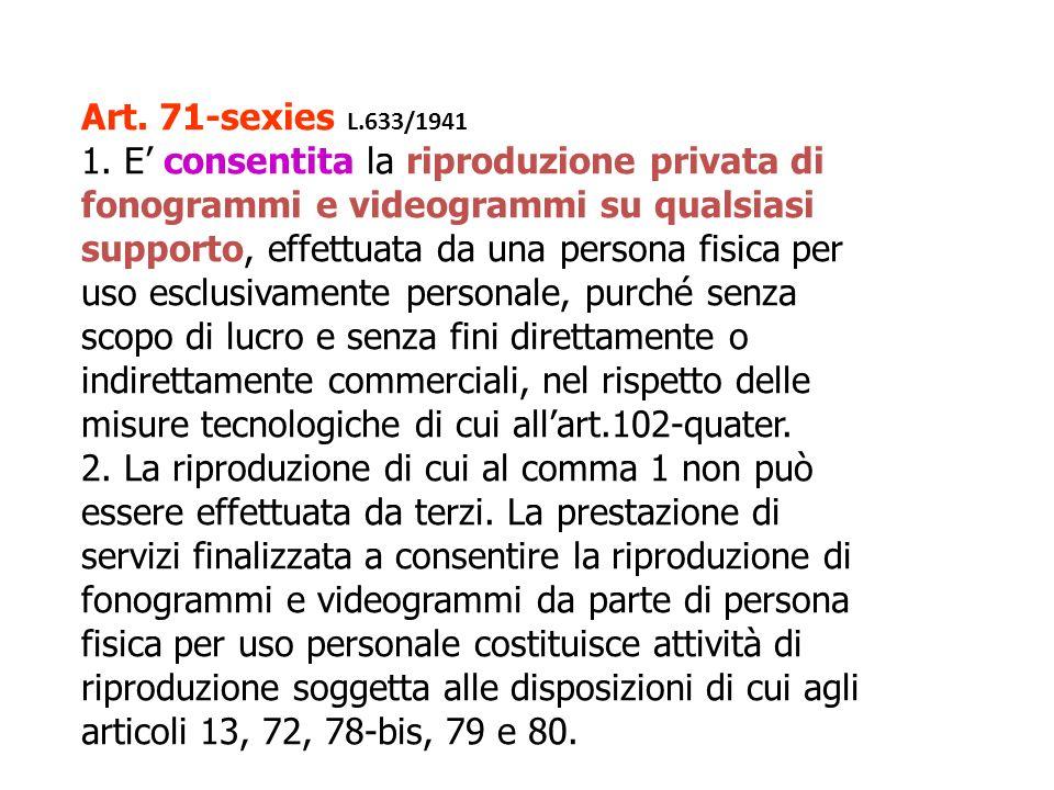 Art. 71-sexies L.633/1941 1. E consentita la riproduzione privata di fonogrammi e videogrammi su qualsiasi supporto, effettuata da una persona fisica