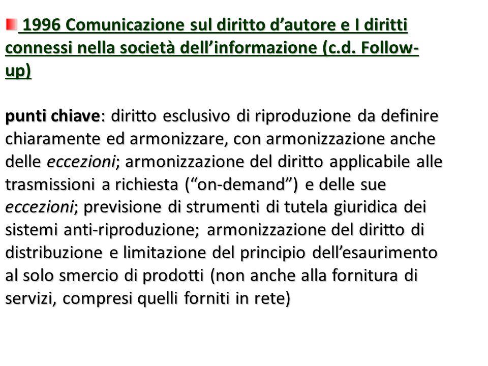 1996 Comunicazione sul diritto dautore e I diritti connessi nella società dellinformazione (c.d. Follow- up) 1996 Comunicazione sul diritto dautore e