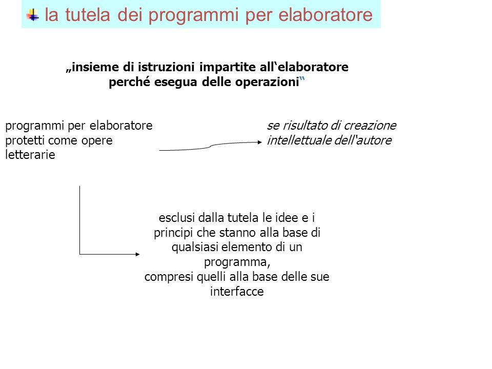 la tutela dei programmi per elaboratore insieme di istruzioni impartite allelaboratore perché esegua delle operazioni programmi per elaboratore protet