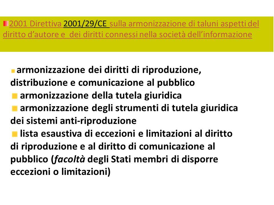 2001 Direttiva 2001/29/CE sulla armonizzazione di taluni aspetti del diritto dautore e dei diritti connessi nella società dellinformazione armonizzazi