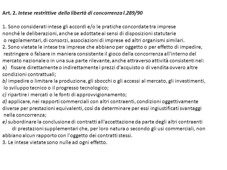 Art. 2. Intese restrittive della libertà di concorrenza l.289/90 1.