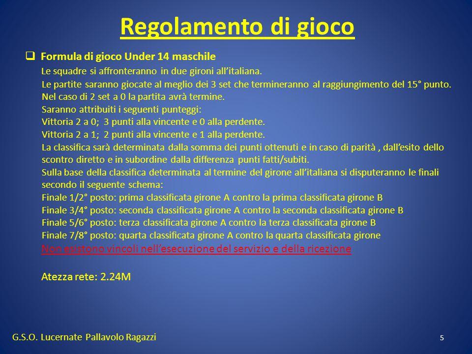 Regolamento di gioco G.S.O. Lucernate Pallavolo Ragazzi 5 Formula di gioco Under 14 maschile Le squadre si affronteranno in due gironi allitaliana. Le