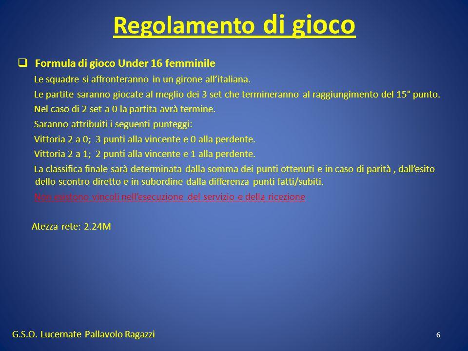 Regolamento di gioco 6 Formula di gioco Under 16 femminile Le squadre si affronteranno in un girone allitaliana. Le partite saranno giocate al meglio