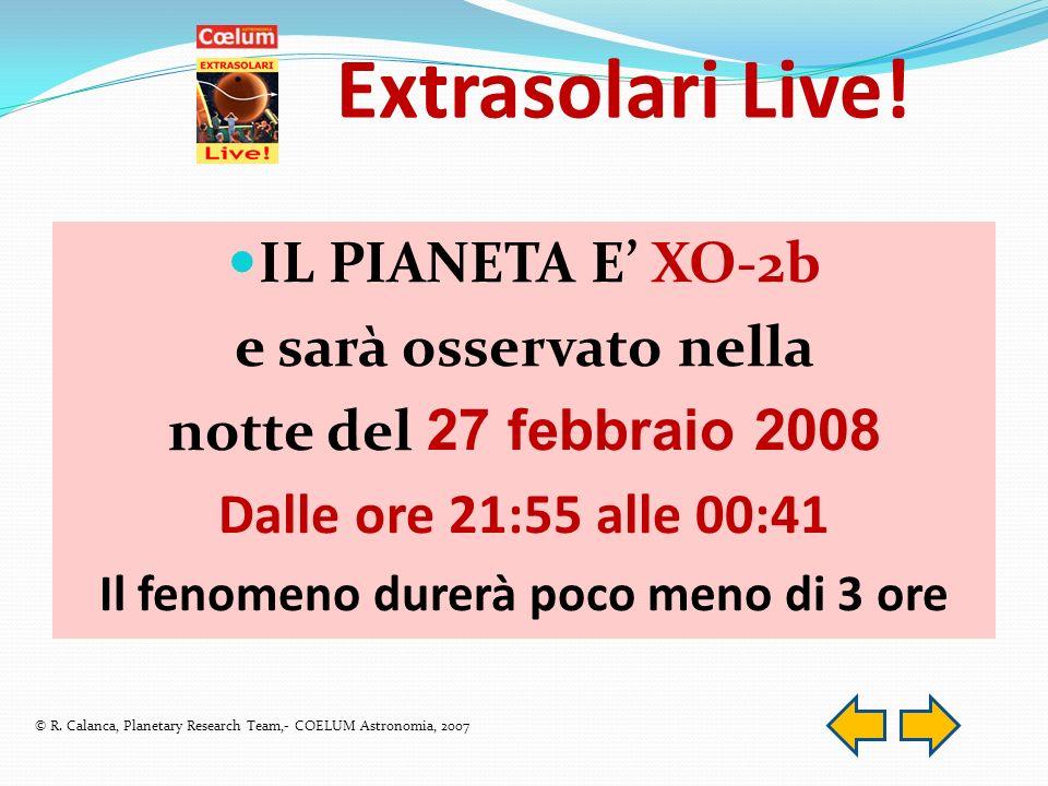 IL PIANETA E XO-2b e sarà osservato nella notte del 27 febbraio 2008 Dalle ore 21:55 alle 00:41 Il fenomeno durerà poco meno di 3 ore Extrasolari Live.