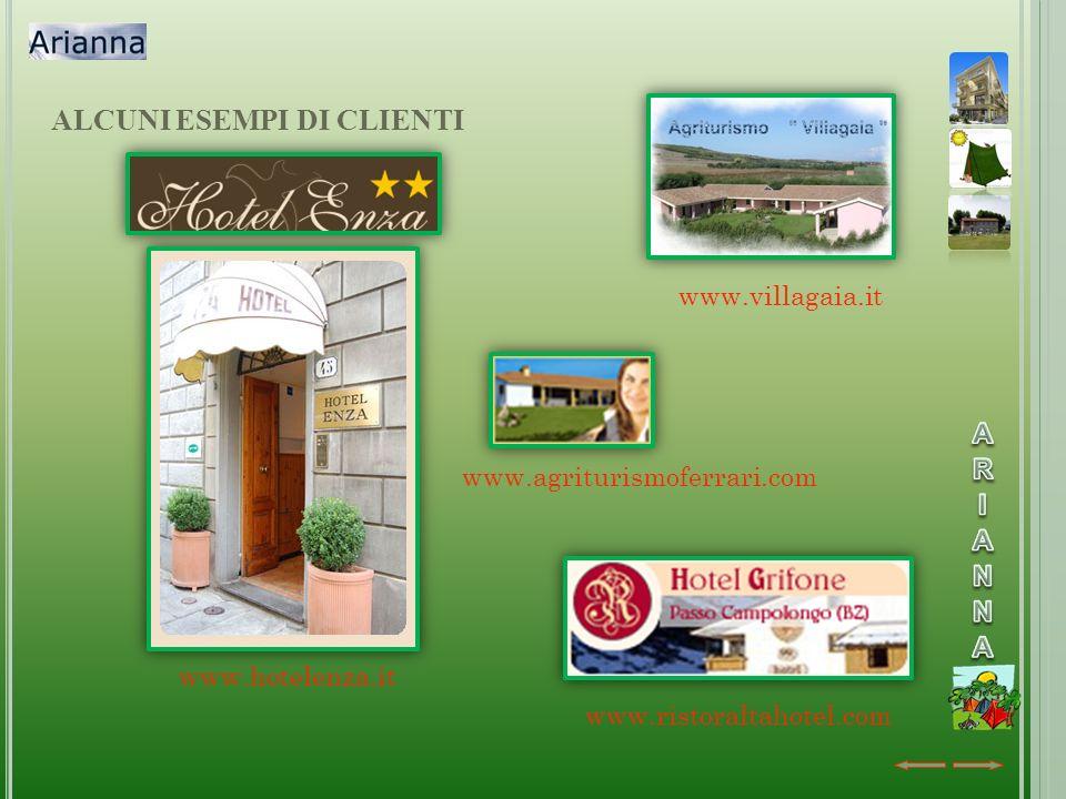ALCUNI ESEMPI DI CLIENTI www.hotelenza.it www.villagaia.it www.agriturismoferrari.com www.ristoraltahotel.com