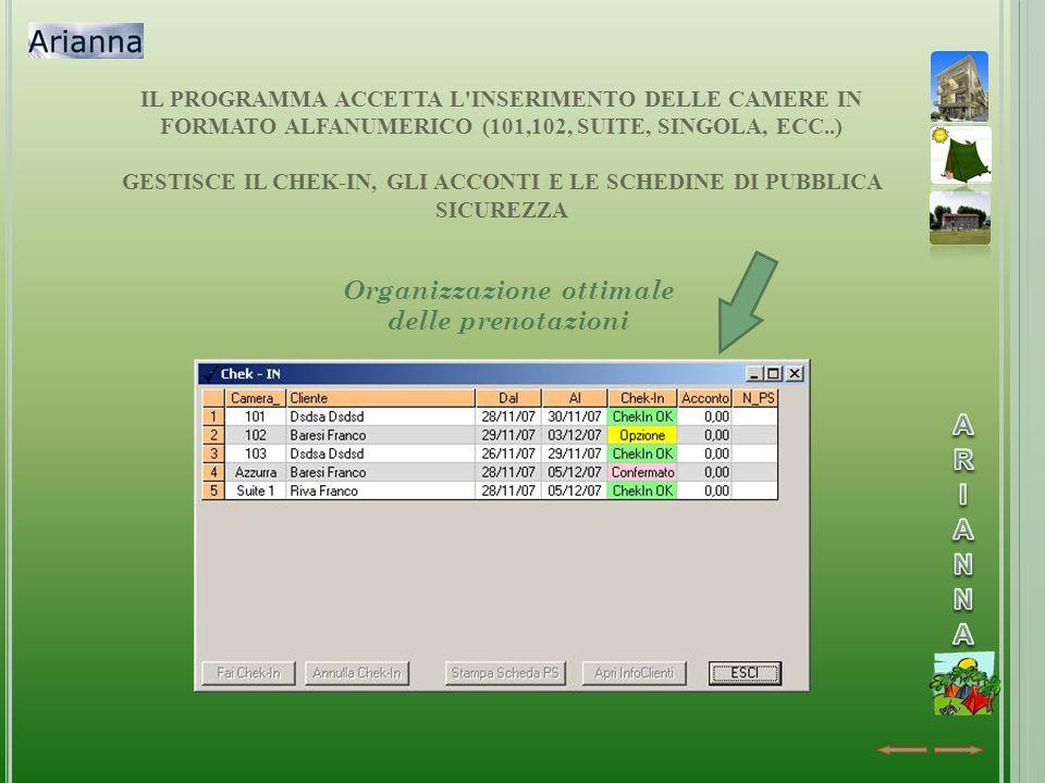IL PROGRAMMA ACCETTA L'INSERIMENTO DELLE CAMERE IN FORMATO ALFANUMERICO (101,102, SUITE, SINGOLA, ECC..) GESTISCE IL CHEK-IN, GLI ACCONTI E LE SCHEDIN