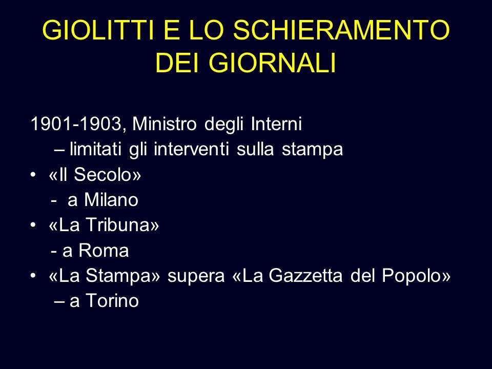 GIOLITTI E LO SCHIERAMENTO DEI GIORNALI 1901-1903, Ministro degli Interni –limitati gli interventi sulla stampa «Il Secolo» - a Milano «La Tribuna» -