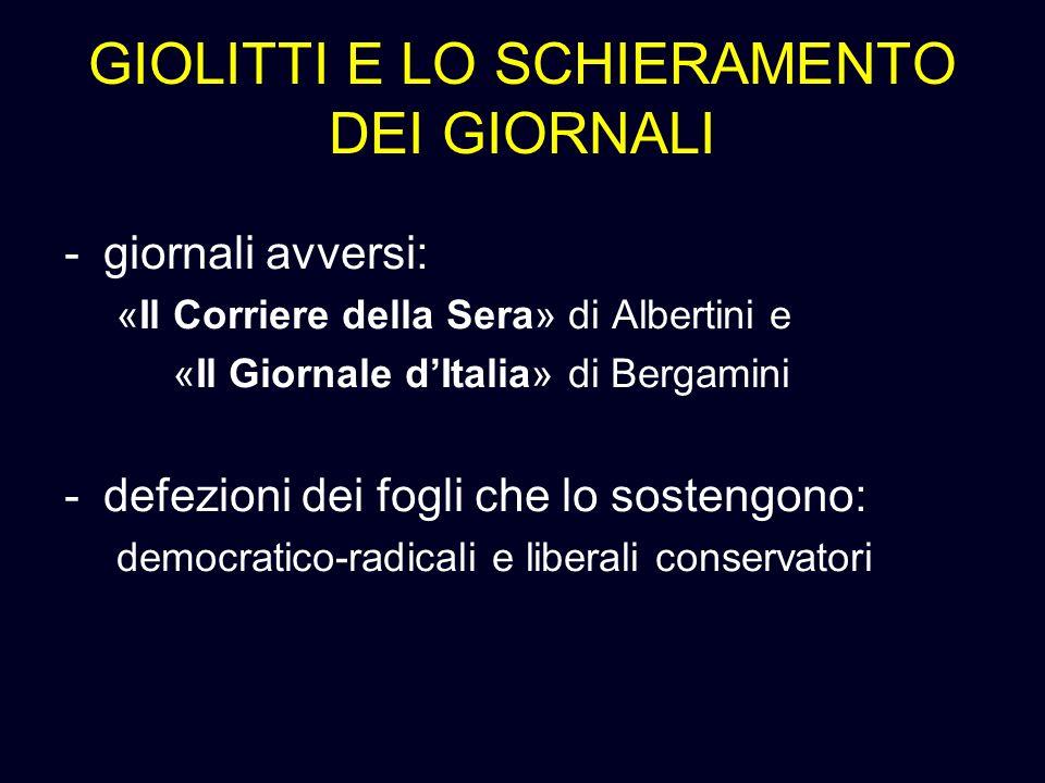 GIOLITTI E LO SCHIERAMENTO DEI GIORNALI -giornali avversi: «Il Corriere della Sera» di Albertini e «Il Giornale dItalia» di Bergamini -defezioni dei f