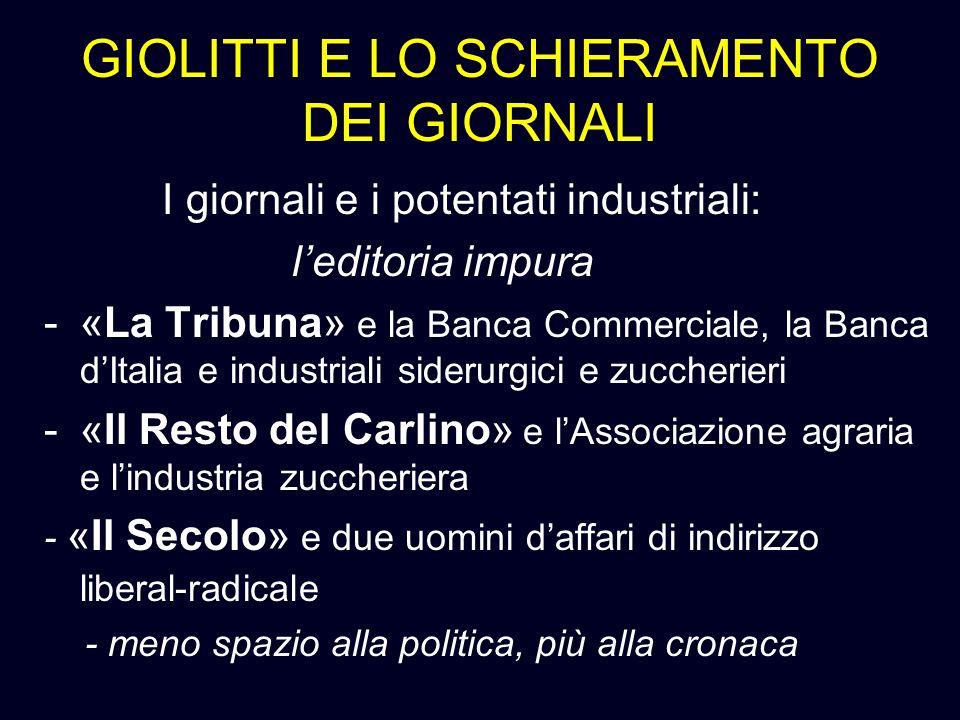 GIOLITTI E LO SCHIERAMENTO DEI GIORNALI I giornali e i potentati industriali: leditoria impura -«La Tribuna» e la Banca Commerciale, la Banca dItalia