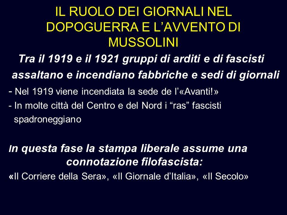 IL RUOLO DEI GIORNALI NEL DOPOGUERRA E LAVVENTO DI MUSSOLINI Tra il 1919 e il 1921 gruppi di arditi e di fascisti assaltano e incendiano fabbriche e s