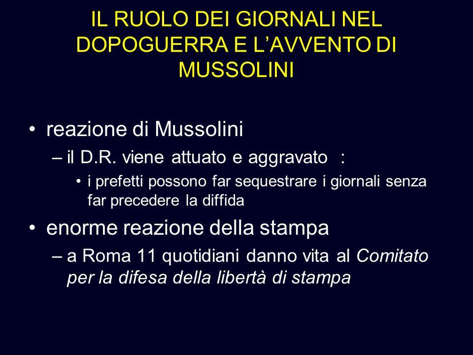 IL RUOLO DEI GIORNALI NEL DOPOGUERRA E LAVVENTO DI MUSSOLINI reazione di Mussolini –il D.R. viene attuato e aggravato : i prefetti possono far sequest