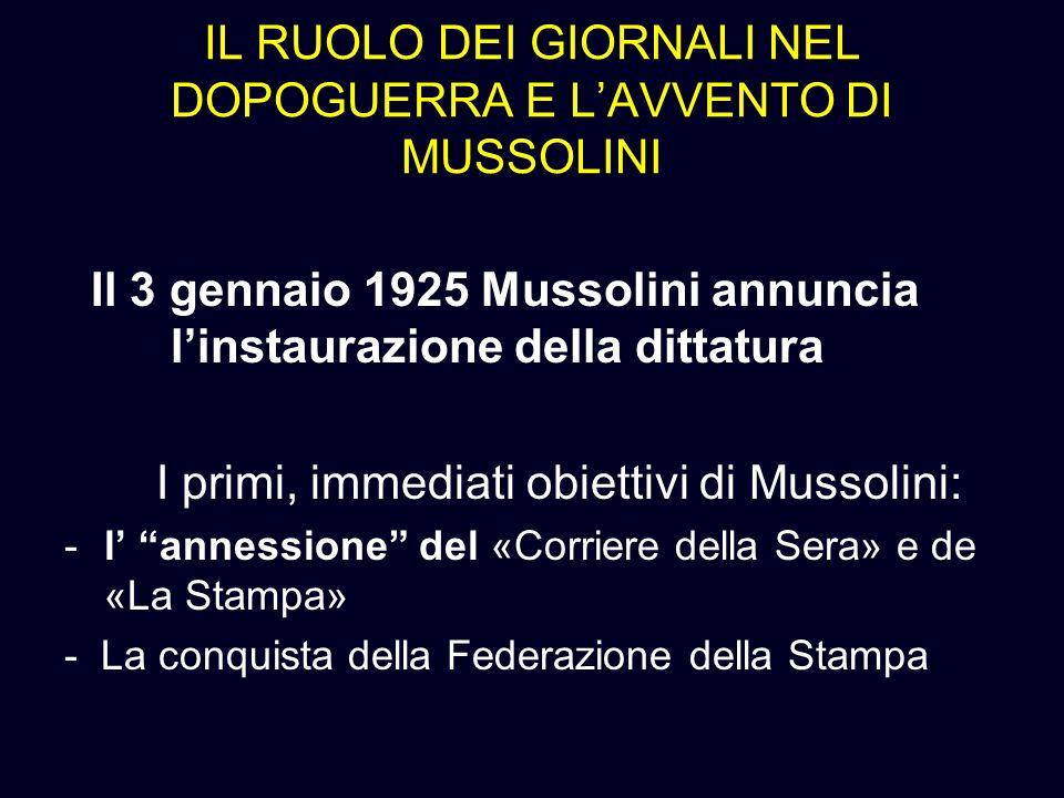 IL RUOLO DEI GIORNALI NEL DOPOGUERRA E LAVVENTO DI MUSSOLINI Il 3 gennaio 1925 Mussolini annuncia linstaurazione della dittatura I primi, immediati ob