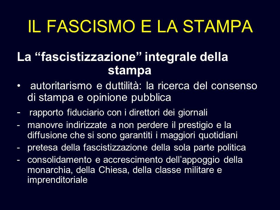 IL FASCISMO E LA STAMPA La fascistizzazione integrale della stampa autoritarismo e duttilità: la ricerca del consenso di stampa e opinione pubblica -