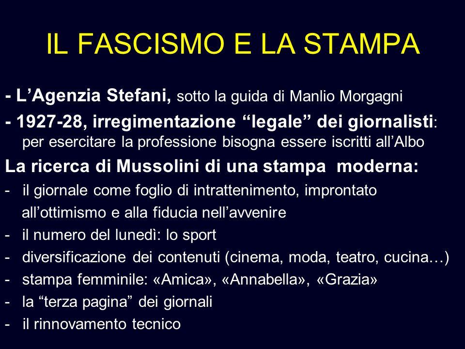 IL FASCISMO E LA STAMPA - LAgenzia Stefani, sotto la guida di Manlio Morgagni - 1927-28, irregimentazione legale dei giornalisti : per esercitare la p