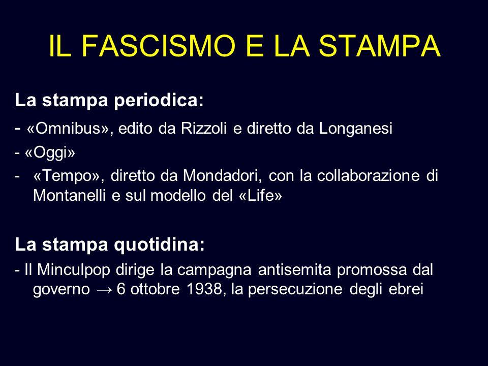 IL FASCISMO E LA STAMPA La stampa periodica: - «Omnibus», edito da Rizzoli e diretto da Longanesi - «Oggi» -«Tempo», diretto da Mondadori, con la coll