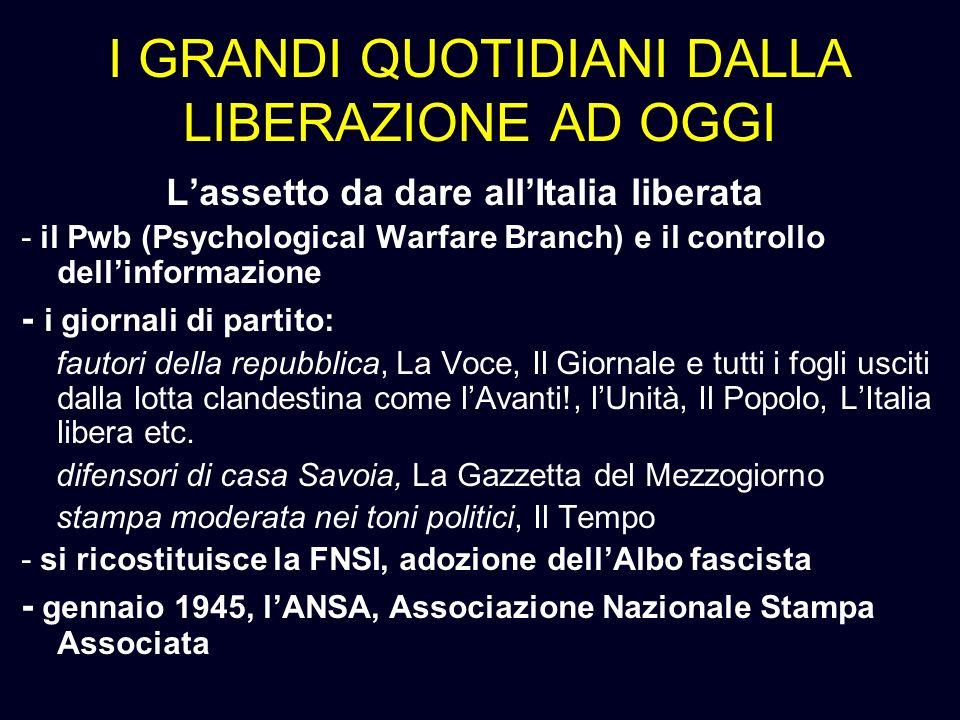 I GRANDI QUOTIDIANI DALLA LIBERAZIONE AD OGGI Lassetto da dare allItalia liberata - il Pwb (Psychological Warfare Branch) e il controllo dellinformazi