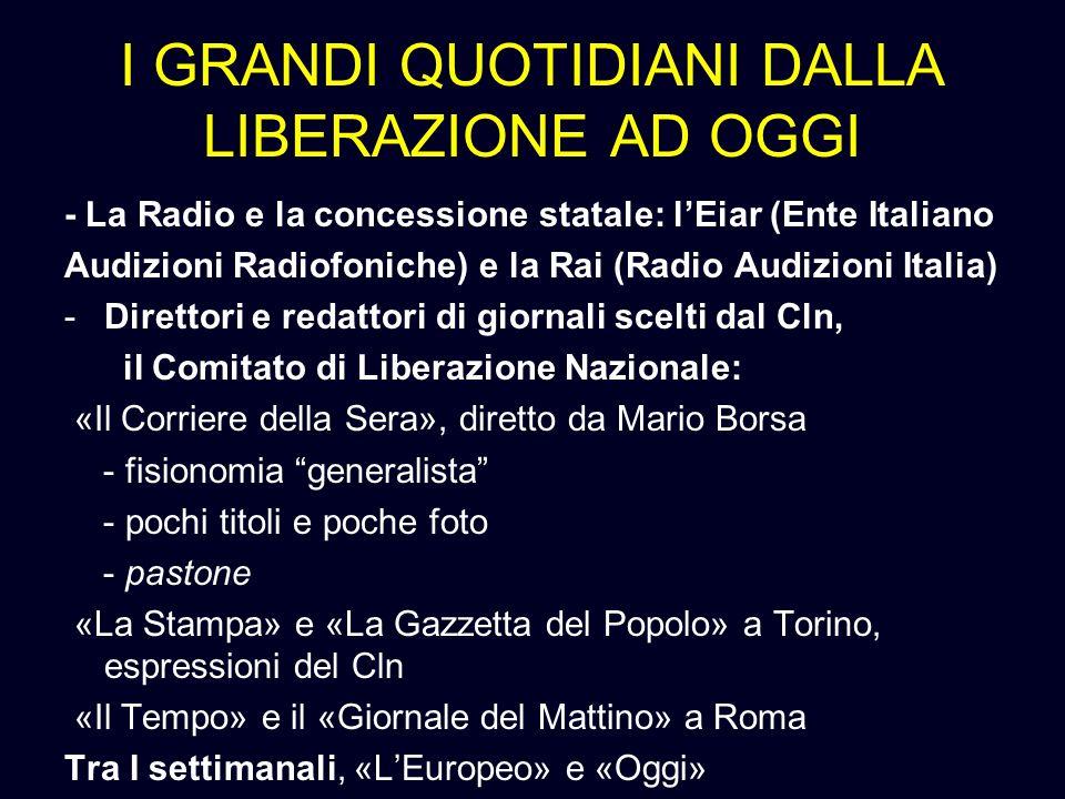 I GRANDI QUOTIDIANI DALLA LIBERAZIONE AD OGGI - La Radio e la concessione statale: lEiar (Ente Italiano Audizioni Radiofoniche) e la Rai (Radio Audizi