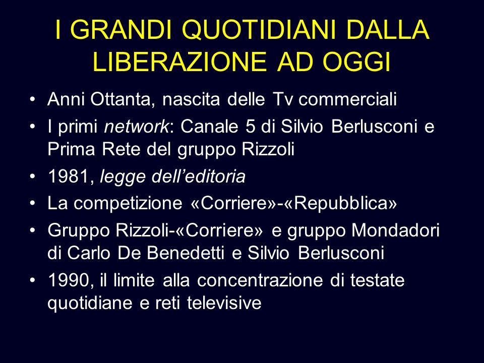 I GRANDI QUOTIDIANI DALLA LIBERAZIONE AD OGGI Anni Ottanta, nascita delle Tv commerciali I primi network: Canale 5 di Silvio Berlusconi e Prima Rete d