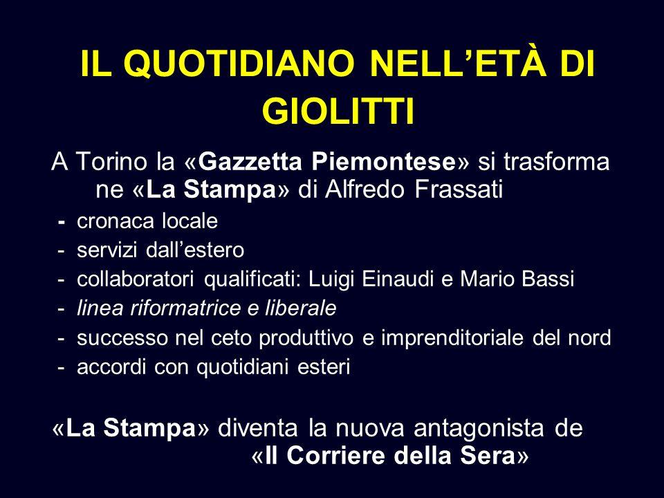 IL QUOTIDIANO NELLETÀ DI GIOLITTI A Torino la «Gazzetta Piemontese» si trasforma ne «La Stampa» di Alfredo Frassati - cronaca locale - servizi dallest
