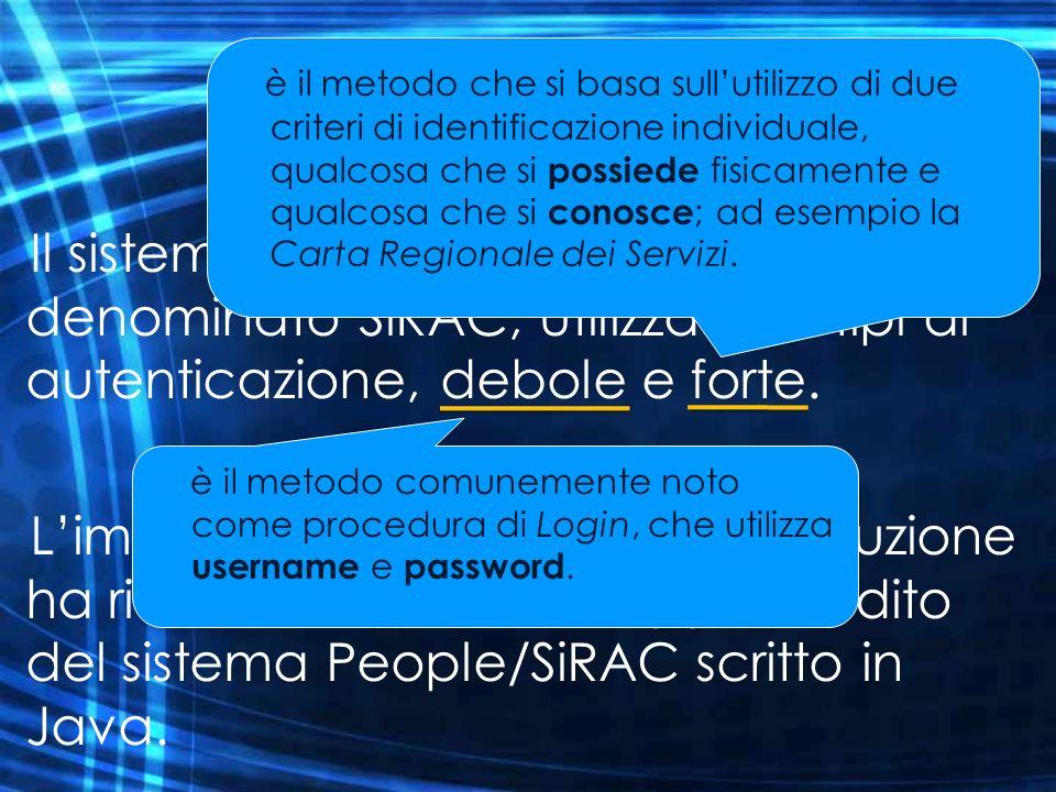 Il sistema di autenticazione di People è denominato SiRAC, utilizza due tipi di autenticazione, debole e forte. Limplementazione di questa soluzione h