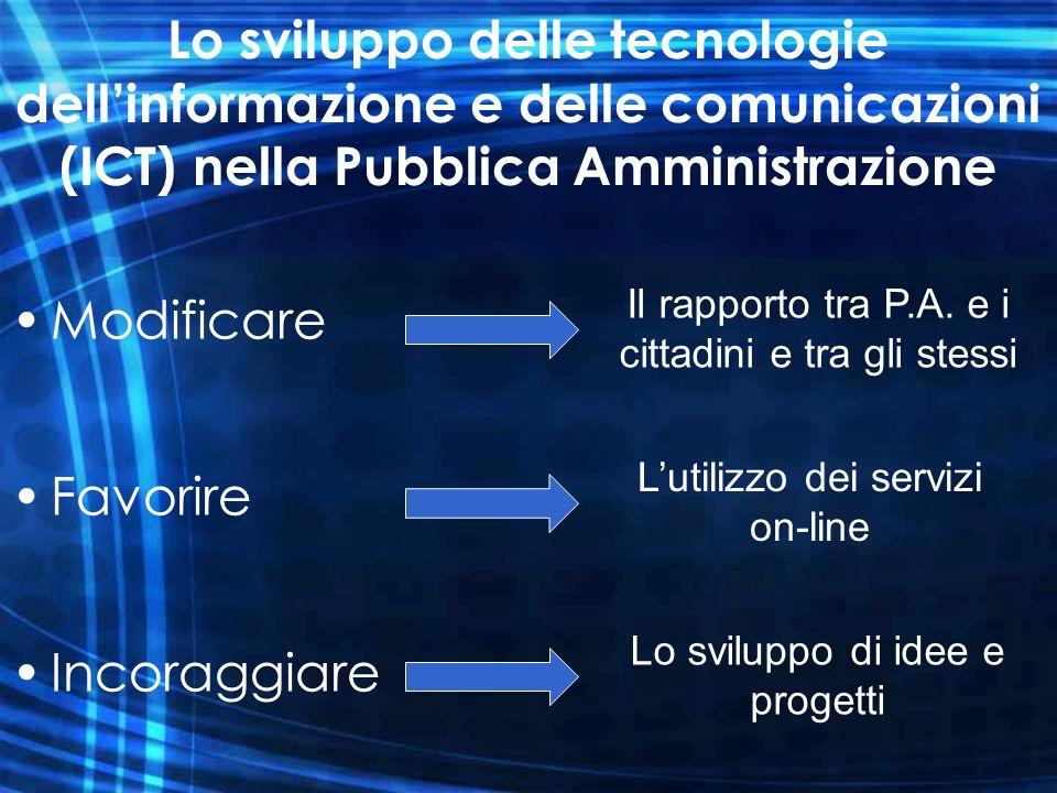 Lo sviluppo delle tecnologie dellinformazione e delle comunicazioni (ICT) nella Pubblica Amministrazione Modificare Favorire Incoraggiare Il rapporto