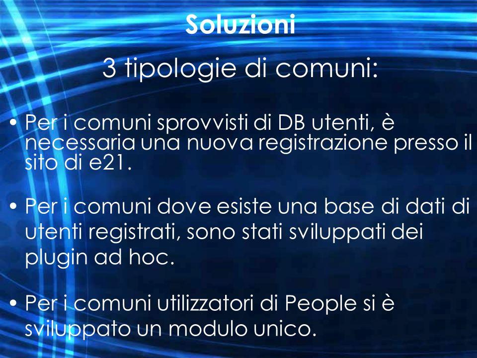 Soluzioni Per i comuni sprovvisti di DB utenti, è necessaria una nuova registrazione presso il sito di e21. 3 tipologie di comuni: Per i comuni dove e