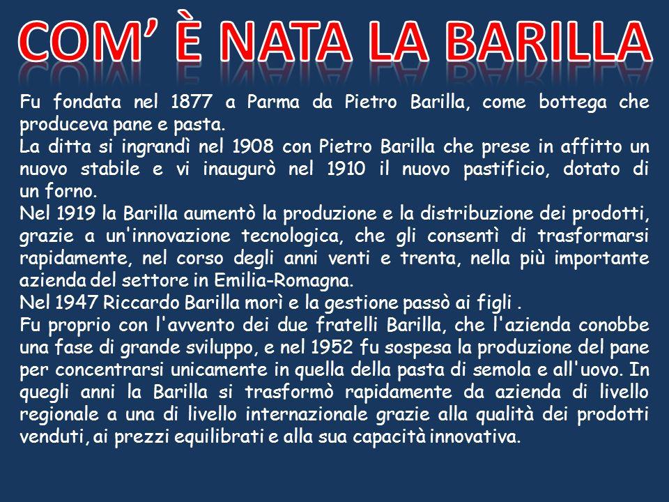 Fu fondata nel 1877 a Parma da Pietro Barilla, come bottega che produceva pane e pasta. La ditta si ingrandì nel 1908 con Pietro Barilla che prese in
