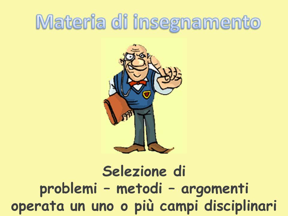 Selezione di problemi – metodi – argomenti operata un uno o più campi disciplinari