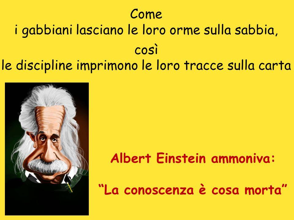 Albert Einstein ammoniva: La conoscenza è cosa morta Come i gabbiani lasciano le loro orme sulla sabbia, così le discipline imprimono le loro tracce sulla carta
