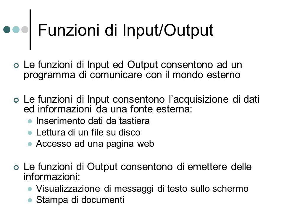 Funzioni di Input/Output Le funzioni di Input ed Output consentono ad un programma di comunicare con il mondo esterno Le funzioni di Input consentono