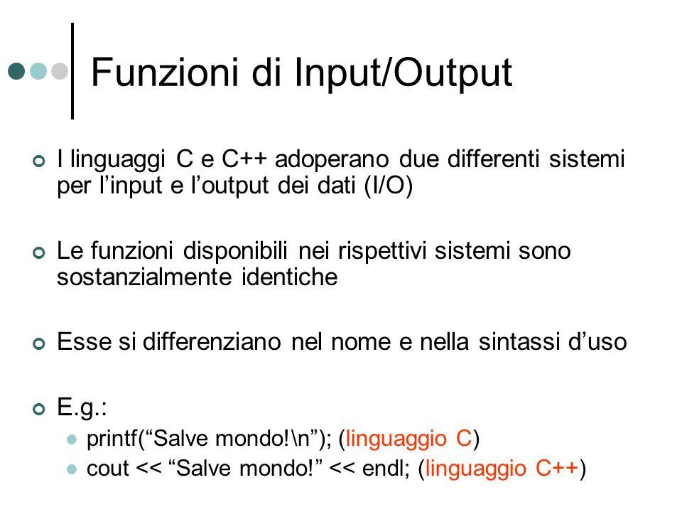 Funzioni di Input/Output I linguaggi C e C++ adoperano due differenti sistemi per linput e loutput dei dati (I/O) Le funzioni disponibili nei rispetti