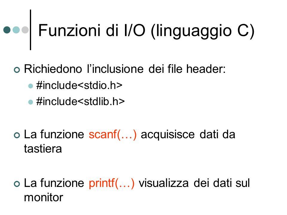 Funzioni di I/O (linguaggio C) Richiedono linclusione dei file header: #include La funzione scanf(…) acquisisce dati da tastiera La funzione printf(…)