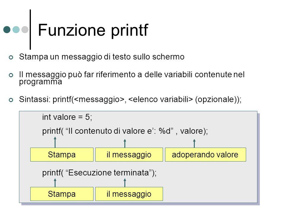 Funzione printf int valore = 5; printf( Il contenuto di valore e: %d, valore); printf( Esecuzione terminata); Stampa Stampa un messaggio di testo sull