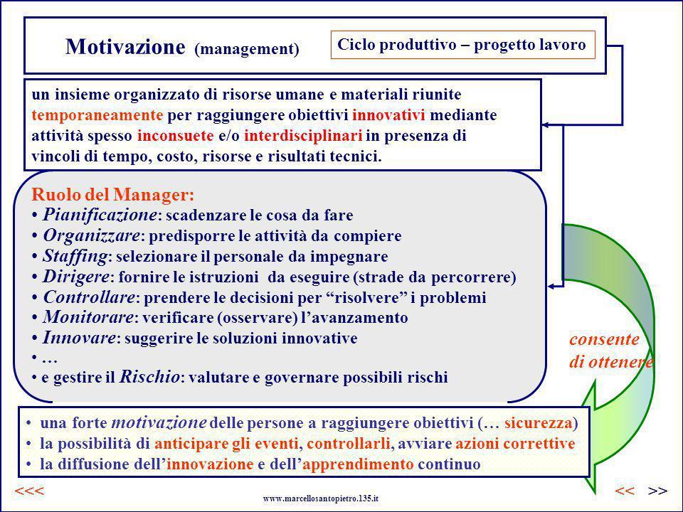Motivazione (management) Ciclo produttivo – progetto lavoro Ruolo del Manager: Pianificazione : scadenzare le cosa da fare Organizzare : predisporre l