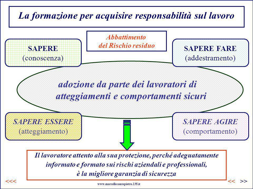 La formazione per acquisire responsabilità sul lavoro adozione da parte dei lavoratori di atteggiamenti e comportamenti sicuri SAPERE ESSERE (atteggia