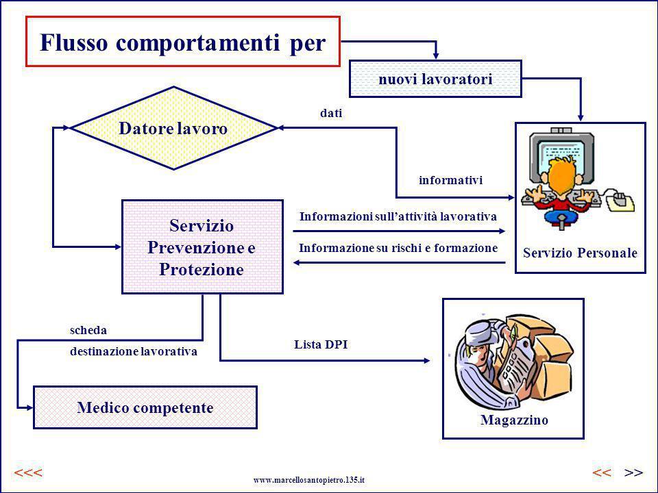 nuovi lavoratori Flusso comportamenti per Servizio Personale dati informativi Servizio Prevenzione e Protezione Informazioni sullattività lavorativa I