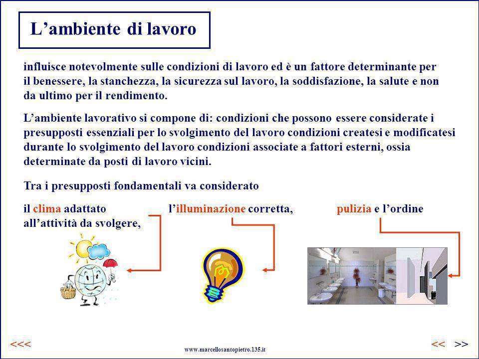 Lambiente di lavoro Lambiente lavorativo si compone di: condizioni che possono essere considerate i presupposti essenziali per lo svolgimento del lavo