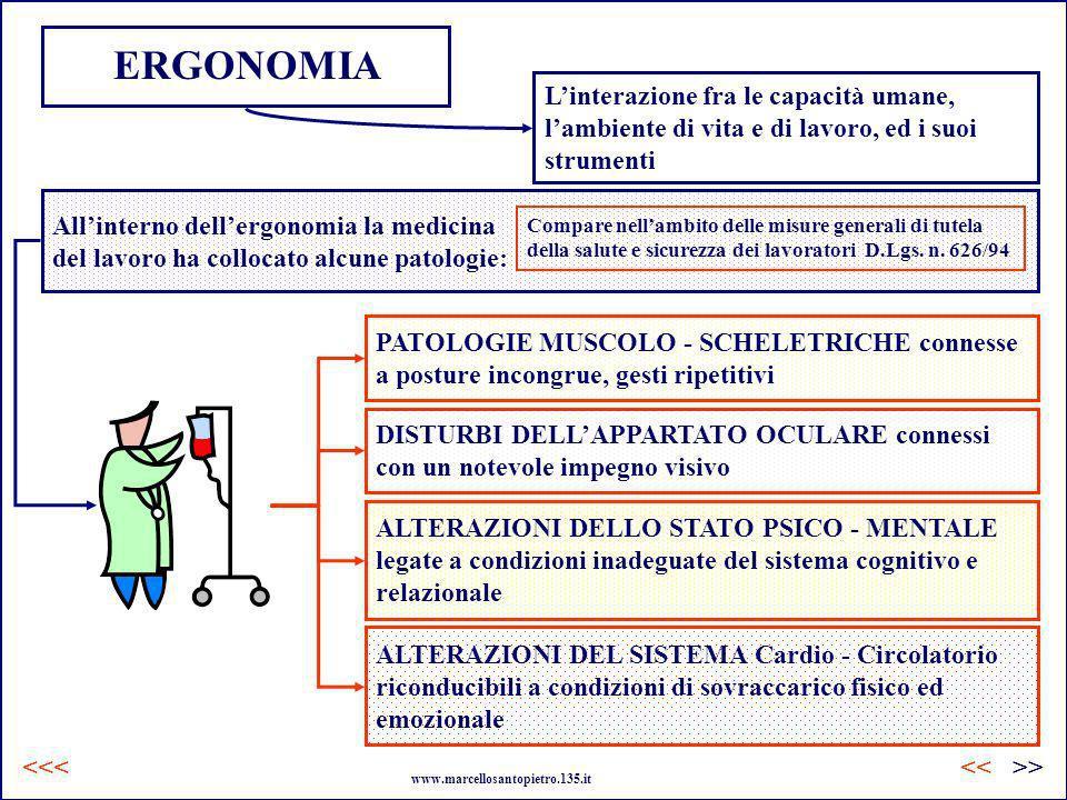 Allinterno dellergonomia la medicina del lavoro ha collocato alcune patologie: ERGONOMIA Compare nellambito delle misure generali di tutela della salu