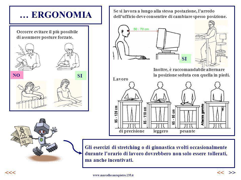 Occorre evitare il più possibile di assumere posture forzate. … ERGONOMIA <<>> www.marcellosantopietro.135.it <<< Se si lavora a lungo alla stessa pos