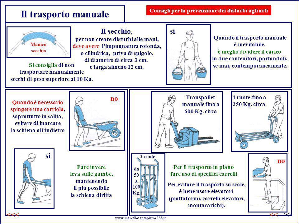 Il trasporto manuale Il secchio, per non creare disturbi alle mani, deve avere limpugnatura rotonda, o cilindrica, priva di spigolo, di diametro di ci