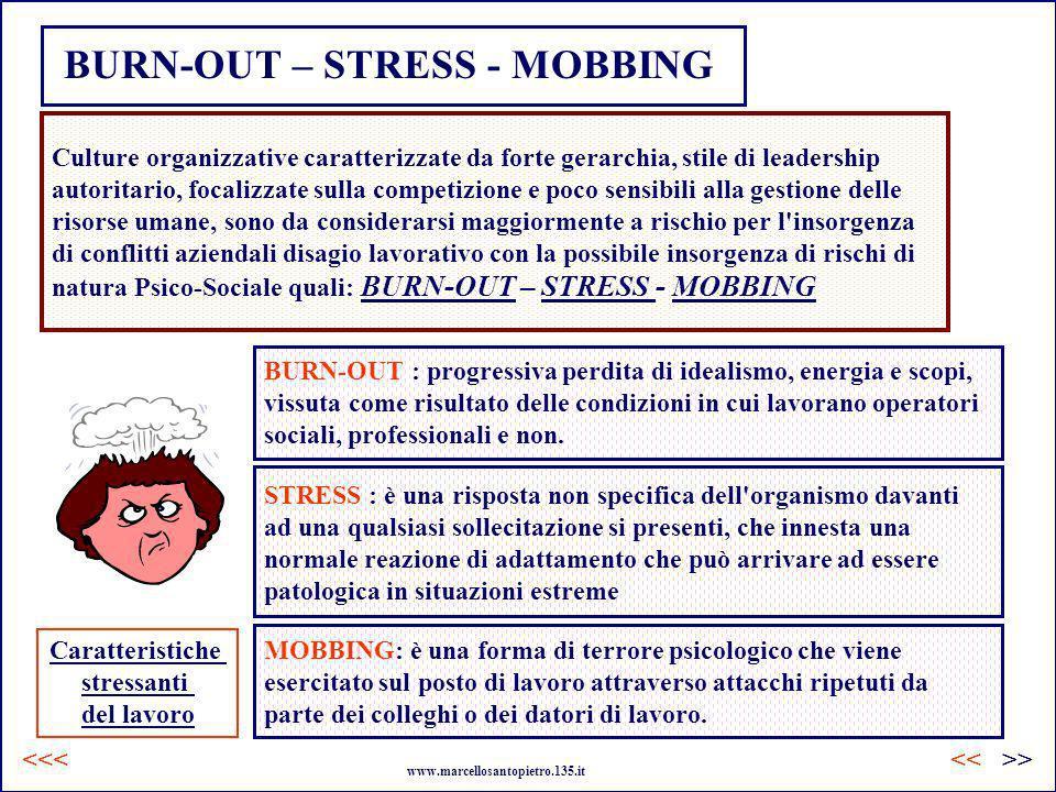 BURN-OUT – STRESS - MOBBING Culture organizzative caratterizzate da forte gerarchia, stile di leadership autoritario, focalizzate sulla competizione e
