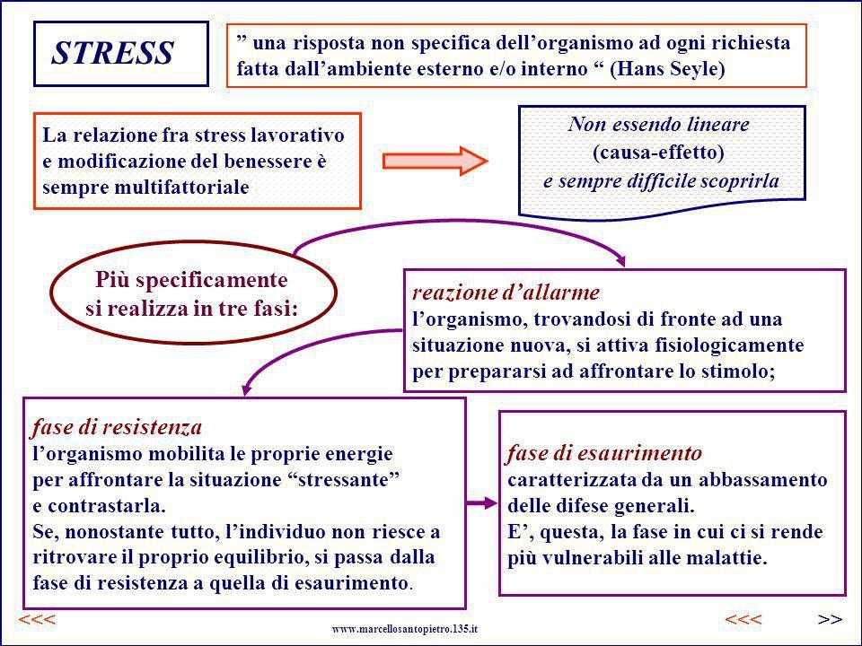 STRESS una risposta non specifica dellorganismo ad ogni richiesta fatta dallambiente esterno e/o interno (Hans Seyle) La relazione fra stress lavorati