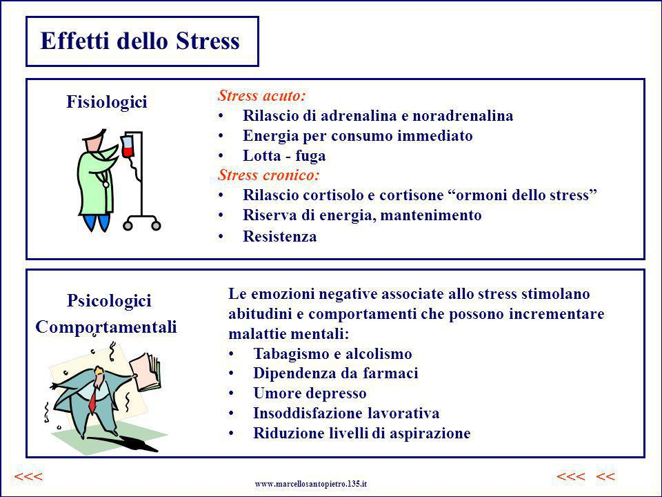 Effetti dello Stress Fisiologici Psicologici Comportamentali Stress acuto: Rilascio di adrenalina e noradrenalina Energia per consumo immediato Lotta