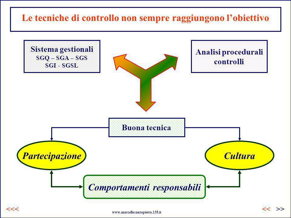 Le tecniche di controllo non sempre raggiungono lobiettivo CulturaPartecipazione Sistema gestionali SGQ – SGA – SGS SGI - SGSL Analisi procedurali con