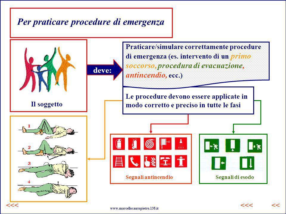 Le procedure devono essere applicate in modo corretto e preciso in tutte le fasi Per praticare procedure di emergenza Il soggetto Praticare/simulare c